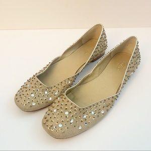 Talbots Beige Gold Sequin Sparkle Ballet Flats
